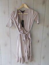 NWT $228 BCBG Max Azria Florentine Wrap Ruffle Sweater Dress Rose Mist S