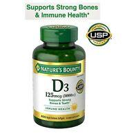 400 Softgels Nature's Bounty Vitamin D3 125 mcg 5000 IU Immune Health EXP 3/23
