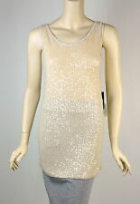 $1,395 NWT Donna Karan Collection Cashmere Champagne Sequin Tank Knit Top Size L