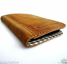 genuine soft leather case for iphone 4 4s book wallet cover handmade brown slim