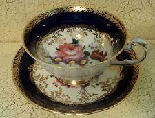 Paragon Blue Cobalt Cabbage Rose Tea Cup & Saucer England