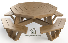 Easy DIY Octagon Picnic Table - Design Plans Instructions for Woodworking 05