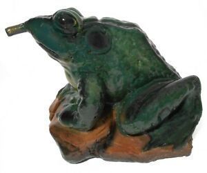 RARE EARLY 20TH C VINT AMERICAN PNTD CONCRETE BULLFROG WATER FOUNTAIN STATUARY