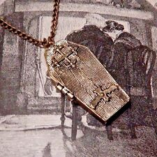 BRASS COFFIN LOCKET poison box pendant vampire Gothic punk goth necklace F6