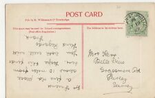 Mrs. Kerr, Belle View, Grassmere Road, Purley 1909 Postcard, M033