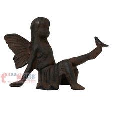 Fairy Figurine with Bird Sitting Angel Cherub Garden Statue Rustic Cast Iron
