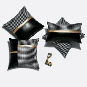 Houndstooth Cushion Case Pu Leather Patchwork Pillowcase Cover Sofa Home Decor