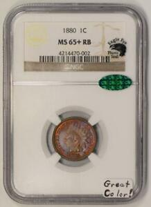 1880 Indian Head Cent NGC MS-65+ RB With CAC And Photo Seal; Great Color!