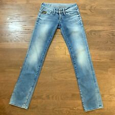 G-Star Midge Womens Blue Straight Stretch Jeans W26 L32 Light Wash Distressed