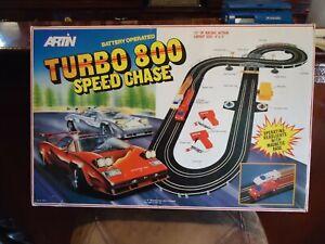 "Vintage Artin TURBO 800 SPEED CHASE Slot Car Raceway  13"", W/LAMBORGHINI CARS"