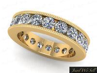 1.60Ct Round Diamond Channel Set Milgrain Eternity Band Ring 10K Gold I SI2