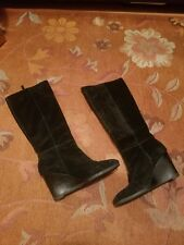 Franco Sarto Womens Suede Leather Wedge Tall Boots Black 9.5