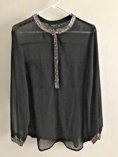 ANA Black Top Womens XL Plus Sheer Silver Beads Evening Dressy