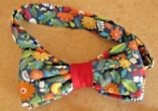 Vintage Cotton Print Bow Tie Handcrafted Custom Multi Color Cotton Adjustable