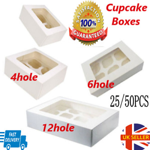 25/50PCS Windowed Cupcake Boxes for 4 and 6 Cup Hold Cakes with Removable Trays