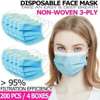 [200 PCS] 3-Ply Disposable Face Mask Non Medical Surgical Earloop Mouth Cover