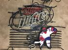 """Very Rare Miller Lite Hockey Player Neon Sign Hard To Find Working 30""""x 28"""""""