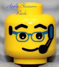 NEW Lego City MINIFIG HEAD Male w/Eye Glasses Blue Cell Phone Walkie Talkie Mic