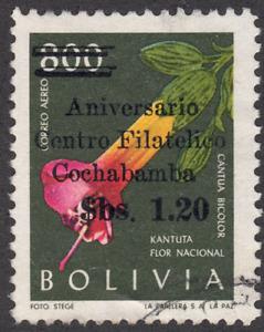 1966 Bolivia SC# C270 - F - Flowers - Overprinted - Used