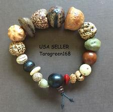 Natural Bodhi Wood Beads Mens Womens Handmade Bracelet STRETCHY ADJUSTABLE x 1