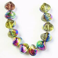 12Pcs/Set Carved Rainbow Titanium Crystal Shell Pendant Bead M15368