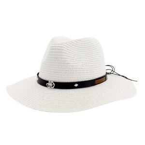 White Panama Straw Beach Sun Hat Summer Belt Outdoor Casual Wide Brim Fedora
