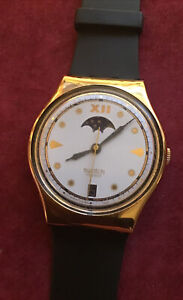 Vintage Mens Swatch Rare Moon Phase Watch 1991 Working With Date Nice Watch