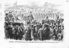 Angleterre Reine Victoria Troupes British Army Camp d'Aldershot UK GRAVURE 1866
