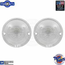 57 Chevy Parking Light Lamp Turn Signal Lenses CLEAR with BOWTIE Outline PAIR