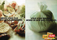 PUBLICITE ADVERTISING  1975   GLAD   sacs alimentaires  ( 2 pages)