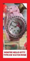 HELLO KITTY MONTRE QUARTZ NEUVE ROSE FILLE FEMME ADO STRASS WATCH BRACELET ICE