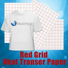 "Light Inkjet TShirt Transfer Paper Photo Paper - Red Grid 8.5"" x 11"" 25 sheets"