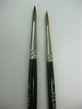 2 RED SABLE PAINT BRUSHES SET Artist Quality Watercolor Brush Set Sizes #4 & #6