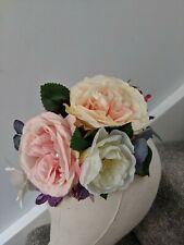 Artificial Flower hair comb - Large Floral display - boho pink peach blues
