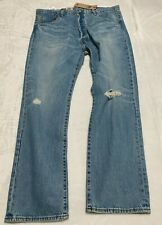 Levis 501 '93 Straight Stretch Distressed Wash Blue Jeans Size 38x30 button fly