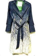Denim belted coat with handpainted design