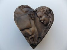 "TRINKET BOX EQUESTRIAN HEART SHAPE HORSE HEAD AND GIRL 5"" X 4 3/4"" BURGANDY VEL."