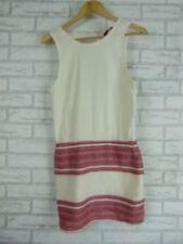 TIGERLILY Dress Sz Australian 6 Cream, Red Textured Material 100% Cotton Hippie,