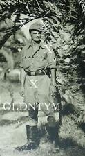 RARE WWII HEER ARMY AFRIKA KORPS MAN TROPICAL TUNIC BUCKLE PALM POSTCARD PHOTO