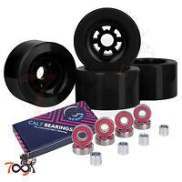 Cal 7 97mm 78A Longboard Flywheel Skateboard Black Wheels +Free Abec 7 Bearings