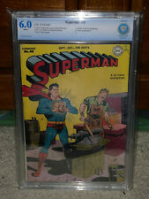 Superman #48 CBCS 6.0 DC 1947 1st Time Travel! White Pages! Free CGC Mylar! cm
