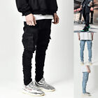 Mens Ripped Jeans Skinny Trousers Casual Stretch Slim Denim Jogger Cargo Pants