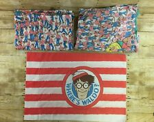 Vtg Wheres Waldo Bed Sheet Set & Pillowcase Twin Size 1990 Wilma Martin Hanford