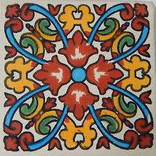 "Handmade Mexican Tile Sample  Talavera Clay 4"" x 4"" Tile C207"