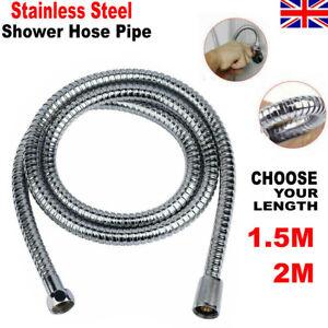 SHOWER HOSE 1.5/2M/3M FLEXIBLE STAINLESS STEEL CHROME BATHROOM PIPE UK STOCK