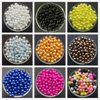Wholesale 4mm 6mm 8mm 10mm Acrylic Round Pearl Spacer Loose Beads Jewelry Making
