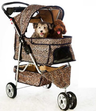 Extra Wide Leopard Skin 3 Wheels Pet Dog Cat Stroller With RainCover