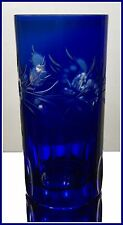COBALT BLUE Long Drink Glass Cocktail Highball Tumbler Hock CUT TO CLEAR CRYSTAL