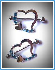 2 pcs Rhinestone Heart Nipple Bar,Surgical Steel,Nipple Ring,Shield,Piercing