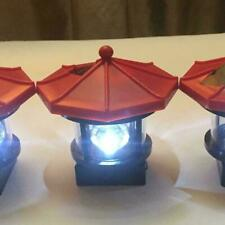 2 x LED Solar Powered Lighthouse Statue Rotating Garden Lighting Outdoor F5P0
